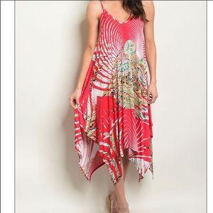 BNWOT WATERMELON sleeveless pleated swing dress